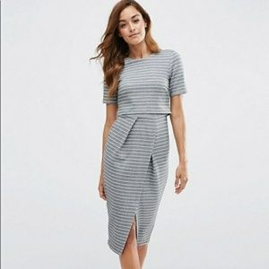 Gray with White Stripe Midi Wiggle Dress